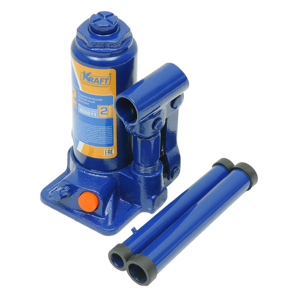 Домкрат бутылочный Kraft КТ 800012, 2 тКТ 800012Гидравлический бутылочный домкрат Kraft предназначен для поднятия грузов. Домкрат позволяет осуществить плавный подъем груза и его точную остановку на заданной высоте при небольшом рабочем усилии. Изделие имеет предохранительный клапан, который в случае неправильной эксплуатации (масса поднимаемого груза будет больше грузоподъемности конкретной модели) сработает и плавно опустит груз. Технические характеристики: - грузоподъемность: 2 тонны, - высота подъема: 310 мм, - высота подхвата: 160 мм. Функциональные особенности: - высокая устойчивость, - выдвижной винт, - складная рукоятка, - предохранительный клапан, - удобная ручка, - морозостойкое масло (-45°C). Комплектация: - механический бутылочный домкрат, - рукоятка домкрата, - руководство по эксплуатации, - кейс.