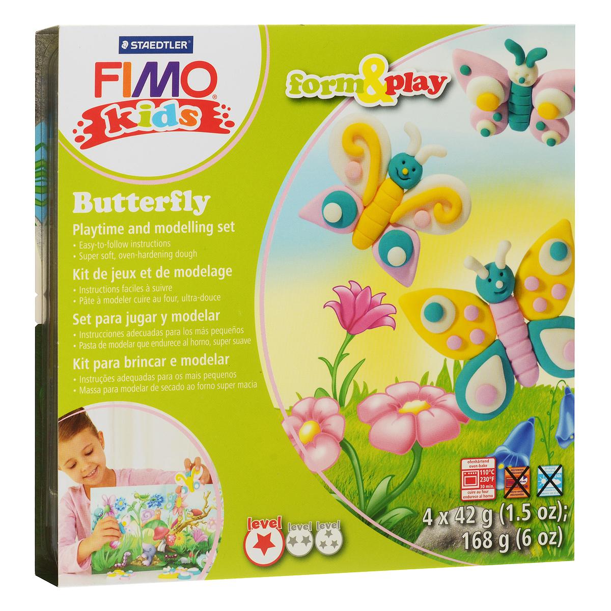 Набор для лепки Fimo Kids Бабочка8034 10 LZНабор для лепки Fimo Kids Бабочка представляет собой сочетание моделирования и игры. Набор включает в себя: 4 блока массы для лепки по 42 г (желтый, нежно-розовый, бирюзовый, блестящий белый), стек для моделирования, игровая фоновая сцена. Входящая в набор полимерная глина разработана специально для детей, она мягкая, пластичная и ей легко придавать различные формы. Игровая фоновая сцена, изображенная на внутренней стороне упаковки, не только доставит дополнительное удовольствие от игры, но и вдохновит на новые идеи моделирования. При помощи этого набора ваш малыш сможет своими руками изготовить красивые фигурки бабочек. В домашних условиях готовая поделка выпекается в духовом шкафу при температуре 110°С в течении 15-30 минут (в зависимости от величины изделия). Отвердевшие изделия могут быть раскрашены акриловыми красками, покрыты лаком, склеены друг с другом или с другими материалами.