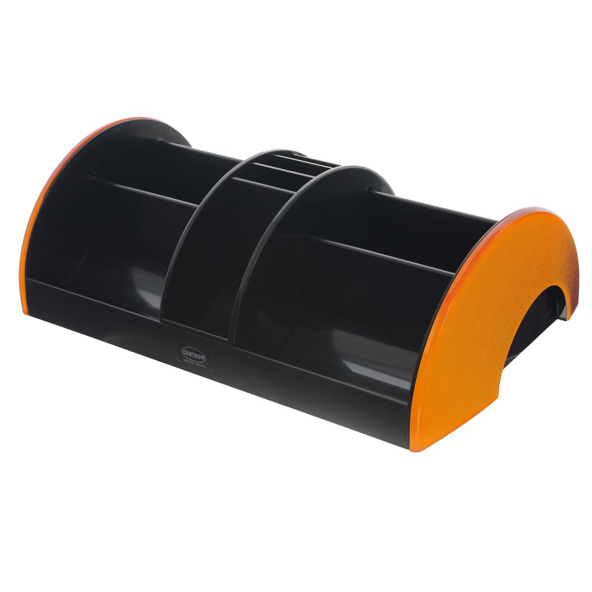Подставка настольная Centrum, цвет: черный, оранжевый83902_оранжПодставка Centrum - незаменимый атрибут рабочего стола. Она выполнена из высококачественного пластика и содержит 3 отделения для пишущих принадлежностей, линеек, ластиков, блоков для заметок. Подставка оснащена съемной секцией с подвижным механизмом, благодаря которой вы сможете регулировать ее рабочее пространство. Съемная секция имеет 5 отделений. Разместив ее на подставке, вы получите 11 отделений. Настольная подставка Centrum призвана не только сохранить письменные принадлежности в порядке, но и разнообразить привычную обстановку рабочего стола.