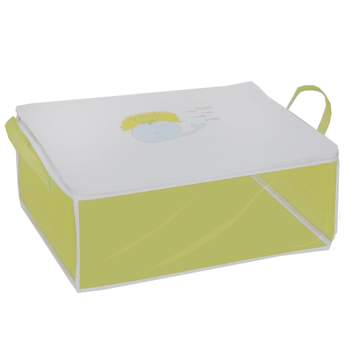 Кофр для хранения Hausmann, цвет: салатовый, белый, 50 x 40 x 20 смBA225-3Кофр для хранения Hausmann изготовлен из высококачественного нетканого материала, который позволяет сохранять естественную вентиляцию, а воздуху свободно проникать внутрь, не пропуская пыль. Прозрачная полиэтиленовая вставка позволит вам без труда определить содержимое кофра. Изделие оснащено молнией и двумя ручками по бокам. Мобильность конструкции обеспечивает складывание и раскладывание одним движением. Размер кофра: 50 см x 40 см x 20 см. Материал: нетканый материал, PEVA.
