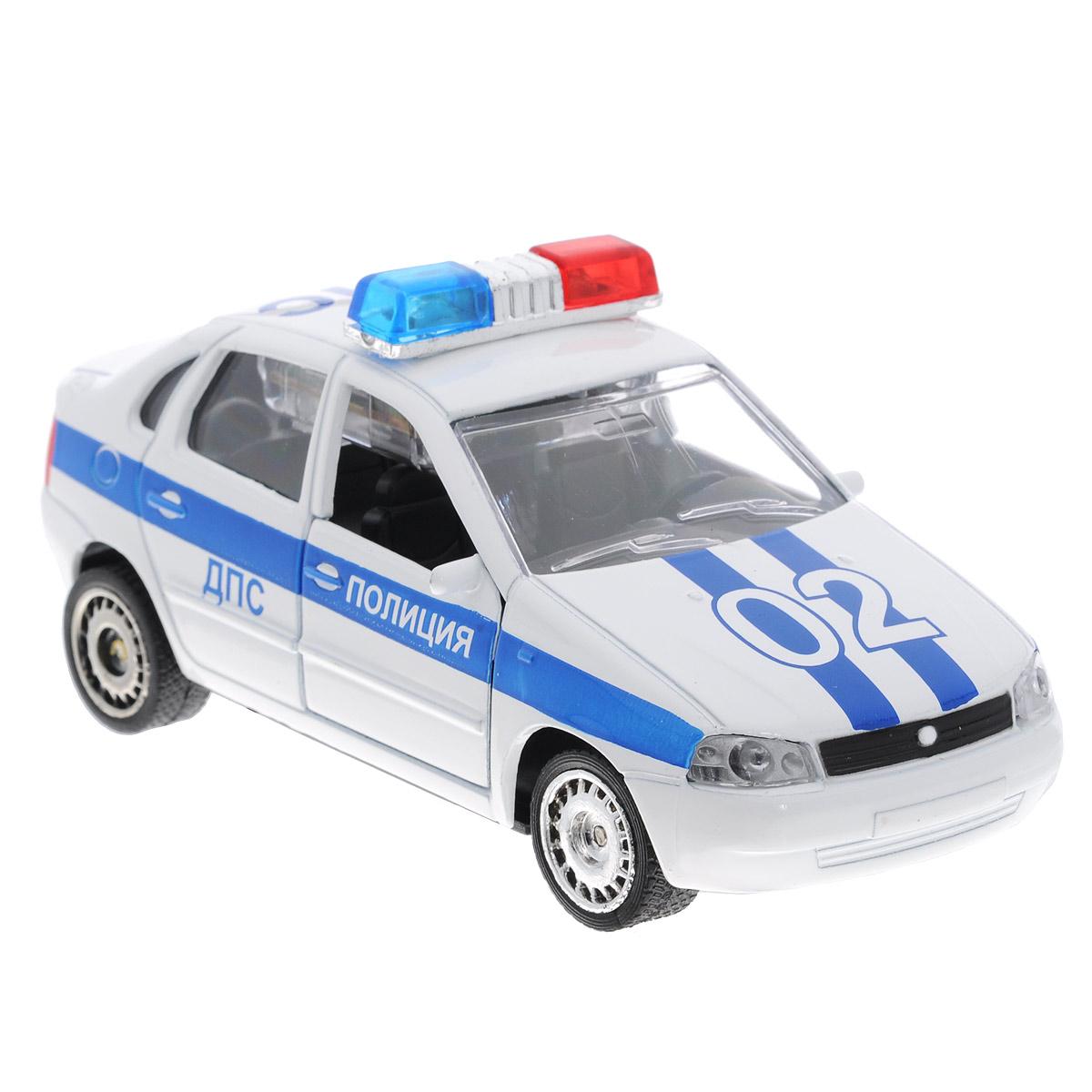 ТехноПарк Машинка инерционная Лада Калина Полиция ДПСCT1049WB-PИнерционная машинка ТехноПарк Лада Калина: ДПС, выполненная из пластика и металла, станет любимой игрушкой вашего малыша. Игрушка представляет собой модель полицейского автомобиля марки Лада Калина. Дверцы кабины открываются. При нажатии на кнопку на крыше модели замигают проблесковые маячки и прозвучат звуки сирены и команды полицейского. Игрушка оснащена инерционным ходом. Машинку необходимо отвести назад, затем отпустить - и она быстро поедет вперед. Прорезиненные колеса обеспечивают надежное сцепление с любой гладкой поверхностью. Ваш ребенок будет часами играть с этой машинкой, придумывая различные истории. Порадуйте его таким замечательным подарком! Машинка работает от батареек (товар комплектуется демонстрационными).