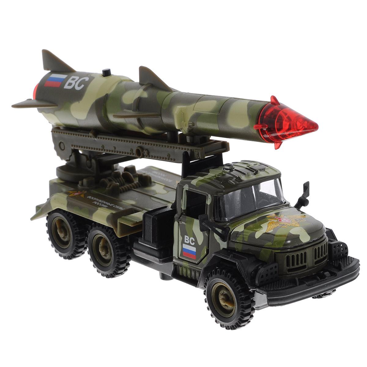 ТехноПарк Машинка инерционная ЗИЛ 131 с ракетой цвет камуфляжныйCT10-001-R-3Инерционная машинка ТехноПарк ЗИЛ 131 с ракетой, выполненная из пластика и металла, станет любимой игрушкой вашего малыша. Игрушка представляет собой модель военного автомобиля ЗИЛ 131, оснащенную подвижной пусковой установкой с ракетой. Дверцы кабины и капот открываются. При нажатии кнопки на ракете боеголовка начинает мигать, при этом слышны звуки стрельбы и команды военных. Игрушка оснащена инерционным ходом. Машинку необходимо отвести назад, затем отпустить - и она быстро поедет вперед. Прорезиненные колеса обеспечивают надежное сцепление с любой гладкой поверхностью. Ваш ребенок будет часами играть с этой машинкой, придумывая различные истории. Порадуйте его таким замечательным подарком! Машинка работает от батареек (товар комплектуется демонстрационными).