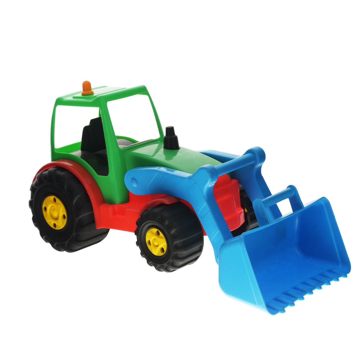 AVC Трактор01/5191Яркая игрушка AVC Трактор, изготовленная из прочного безопасного пластика в виде трактора, отлично подойдет ребенку для различных игр. Трактор оснащен большим подвижным ковшом, с помощью которого можно перемещать различные материалы (камни, песок, строительный мусор). В просторную кабину можно поместить небольшую игрушку. Большие крутящиеся колеса обеспечивают игрушке устойчивость и хорошую проходимость. Ваш ребенок непременно обрадуется новому транспорту в своем игрушечном автопарке. Порадуйте его таким замечательным подарком!