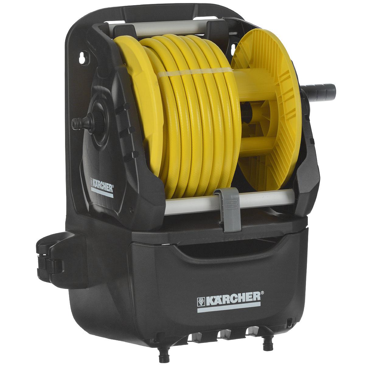 Катушка Karcher HR 7.315 Kit, со шлангом, 15 м 2.645-164.02.645-164.0Компактная оросительная станция Karcher HR 7.315 Kit укомплектована высококачественным садовым шлангом и принадлежностями. Особенности: В смонтированном состоянии. Возможность мобильного и стационарного применения (2 в 1). С держателями для принадлежностей и вместительным ящиком. Держатель для распылителя с удлиняющей трубкой. Угловой штуцер предотвращает перекручивание и перегиб шланга. Рукоятка свободного хода.