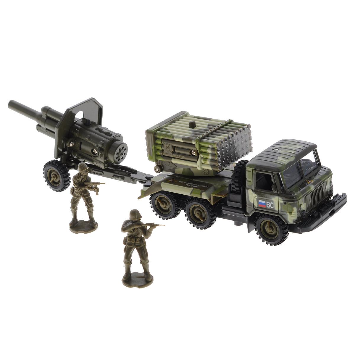 ТехноПарк Игровой набор ГАЗ 66 Вооруженные силыCT-1299-M-CT1112 (WB)Игровой набор ТехноПарк ГАЗ 66 военный непременно станет любимой игрушкой вашего малыша. В набор входит военный грузовик марки ГАЗ 66 с установкой Град, пушка-прицеп и две фигурки солдатиков. Игрушки изготовлены из металла и высококачественного пластика. Дверцы кабины и капот машинки открываются. Установка Град поднимается и поворачивается на 360 градусов. Между кабиной и кузовом расположено запасное колесо, которое также может быть использовано по назначению. При нажатии кнопки на установке и на пушке начинают светиться огоньки, при этом слышны звуки боя и приказы командира. При нажатии кнопки на пушке звучат реалистичные звуки выстрелов. Машинка оснащена инерционным ходом. Ее необходимо отвести назад, затем отпустить - и она быстро поедет вперед. Прорезиненные колеса обеспечивают надежное сцепление с любой гладкой поверхностью. Ваш ребенок будет часами играть с этим набором, придумывая различные истории. Порадуйте его таким замечательным подарком! Машинка...