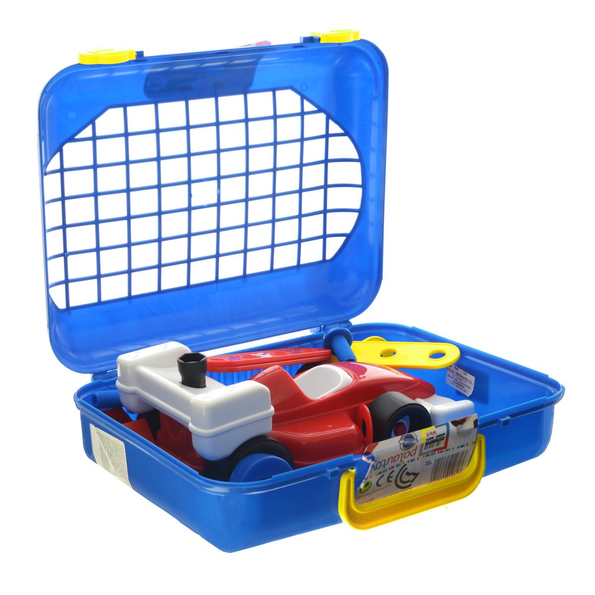 Palau Toys Игровой набор Super Work, 27 предметов. 07/128107/1281Игровой набор Palau Toys Super Work обязательно привлечет внимание вашего малыша. Набор выполнен из яркого пластика и включает в себя планки с отверстиями (2 коротких, 2 длинных), 2 угловых элемента, 4 гайки, 4 болта, отвертку и гаечный ключ, а также 10 элементов, из которых ребенок вручную сможет собрать автомобиль. Колесики машинки вращаются. Все элементы набора имеют увеличенные размеры. Малыш сможет легко собирать и разбирать свои поделки, соединяя шурупы с планками. Набор можно брать с собой на прогулку, ведь все инструменты аккуратно размещены в небольшом, но вместительном чемоданчике с удобной ручкой для переноски. С таким набором ваш ребенок весело проведет время, играя на детской площадке или в песочнице. Процесс сборки игрушки-конструктора поможет малышу развить мелкую моторику пальчиков, внимательность и усидчивость. Порадуйте своего малыша таким чудесным подарком!