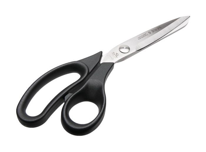 Ножницы закроечные Premax Optimal line, цвет: черный, 23,5 смPremax B 6182 (9 1/2) ножницыНожницы закроечные Premax Optimal line, изготовленные из высококачественной нержавеющей стали с нейлоновыми ручками, используются в швейном производстве для раскройки тканей различной толщины, ниток, бумаги. Ножницы легки и удобны в работе. Длина ножниц: 23,5 см. Длина лезвий: 10 см.