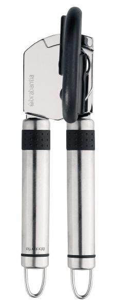 Нож консервный Brabantia. 215087215087-BRКонсервный нож Brabantia выполнен из высококачественной нержавеющей стали и пластика. Прибор легко и безопасно открывает все типы консервных банок, не оставляя заусенцев на краях банки. Специальная конструкция удерживает крышку при открывании. Прибор оснащен большой пластиковой ручкой, проверенным режущим механизмом и двумя ручками из нержавеющей стали. Можно мыть в посудомоечной машине. Длина ножа: 16 см.
