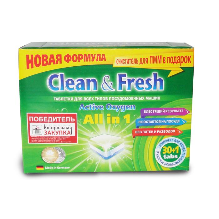 Таблетки для посудомоечных машин Clean & Fresh All in 1, с ароматом лимона, 30 шт16209Применение таблеток Clean & Fresh All in 1 облегчает использование посудомоечных машин. Дополнительные вещества, входящие в состав таблеток защищают машину от образования накипи на нагревательных элементах, способствуют лучшему результату при мытье посуды, существенно экономят ваше время. Удаляют даже самые сильные загрязнения. Таблетки Clean & Fresh All in 1 имеют четыре цветных слоя: зеленый - для лимонного запаха и защиты стекла от коррозии, синие микро-жемчужины - для блестящей посуды и сияющего стекла, белый - для защиты посудомоечной машины от образования накипи и наслоений извести, синий - сила очистки с активным кислородом. Достаточно поместить одну таблетку в дозатор посудомоечной машины и посуда приобретает идеальную чистоту и свежесть, без разводов и известковых пятен. Вес одной таблетки: 20 г. Количество таблеток в упаковке: 30 шт. Состав таблеток: триполифосфат натрия - более 30%; карбонат натрия,...