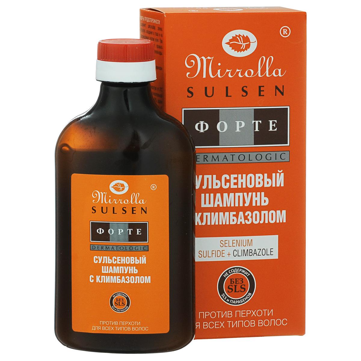 Мирролла Шампунь для волос «Сульсен Форте» с климбазолом, против перхоти, 250 мл4650001792525Создан на основе двух активных противогрибковых компонентов Selenium sulfide и Climbazole. Сульсеновый шампунь с Климбазолом – новейшее, эффективное и безопасное противогрибковое средство, способное бороться с причиной перхоти: избыточной активностью грибков, входящих в естественную флору кожи головы. Сульсеновый шампунь с Климбазолом оказывает активное действие против себореи любого типа.