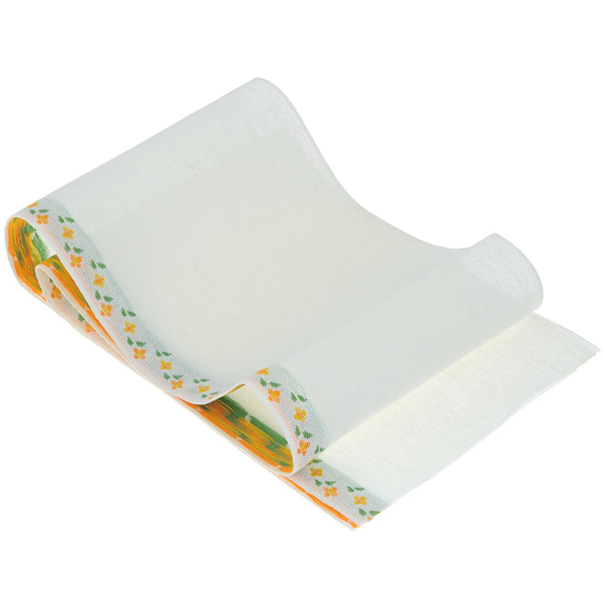 Основа для вышивания крестом или гладью Vaupel & Heilenbeck, с рисунокм, цвет: белый, оранжевый, зеленый, 17,5 х 100 см2070-175-3Основа для вышивания крестом или гладью Vaupel & Heilenbeck представляет собой 11-ти ниточную дорожку, выполненную из 100% льна. По краю дорожка декорирована вышитыми мелкими цветочками. Воплотите свои идеи на этой основе для вышивания! Дорожка, украшенная своими руками, дополнит интерьер любого помещения, а также сможет стать изысканным подарком для ваших друзей и близких.