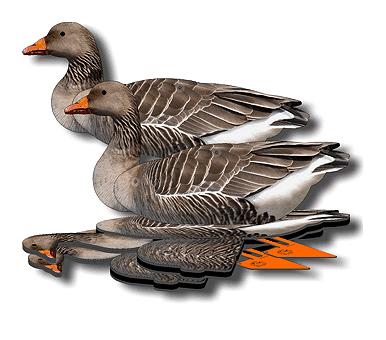 Комплект чучел серого гуся NRA-FUD, складные, полноразмерные, 6 шт510100001Полноразмерные трехмерные чучела с фотореалистичным оформлением, выполненным в правильных тонах. Эти чучела обладают преимуществами профилей, флюгеров и надувных чучел. Их специальное покрытие отражает ультрафиолет, невидимый человеческому глазу, но видимый птицам, благодаря чему эти чучела имеют дополнительное преимущество перед старомодными аналогами. Чучела NRA-FUD могут принимать неограниченное количество разных поз и использоваться на земле и на воде. Их можно вколачивать в мерзлый грунт или вбивать в пни - прочная трехмиллиметровая подставка выдерживает любые нагрузки. Брошенное в воду чучело само принимает правильное положение, благодаря продуманной балансировке. Чучело выдерживает выстрел - дробь просто проходит сквозь материал, не разрушая структуру. Это самые компактные и легкие чучела. Они просты в транспортировке и занимают минимум места. Быстрая установка. Эти чучела экономят ваше время - чтобы разложить один комплект, вам понадобится всего 2...