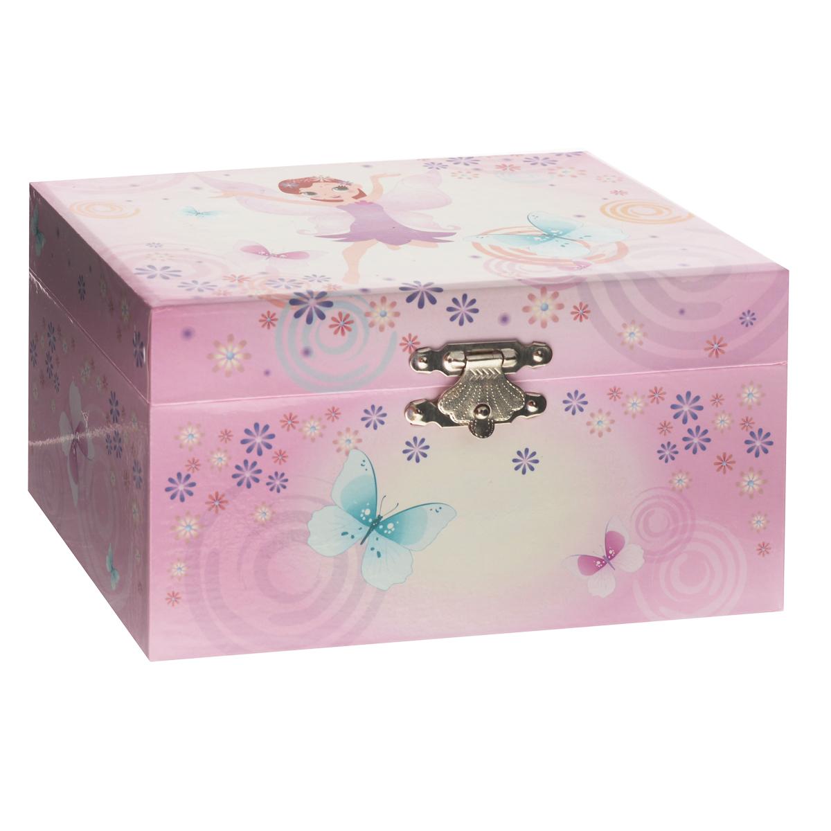 Музыкальная шкатулка Jakos Воздушная фея, цвет: розовый50000_воздушная феяМузыкальная шкатулка Jakos Воздушная фея непременно понравится вашей девочке! Малышка сможет хранить в ней украшения, дорогие ей мелочи и свои секреты. Шкатулка украшена милым рисунком, изображающим очаровательную фею на фоне цветов и бабочек. Шкатулка оформлена в нежных пастельных тонах и прекрасно впишется в любой интерьер. Внутри шкатулки расположено зеркальце, которое пригодиться каждой маленькой моднице, и фигурка феи на пружинке. Если открыть крышку, фигурка начнет кружиться и зазвучит приятная нежная музыка. Музыкальная шкатулка для украшений станет оригинальным и полезным подарком, и понравится любой девочке.