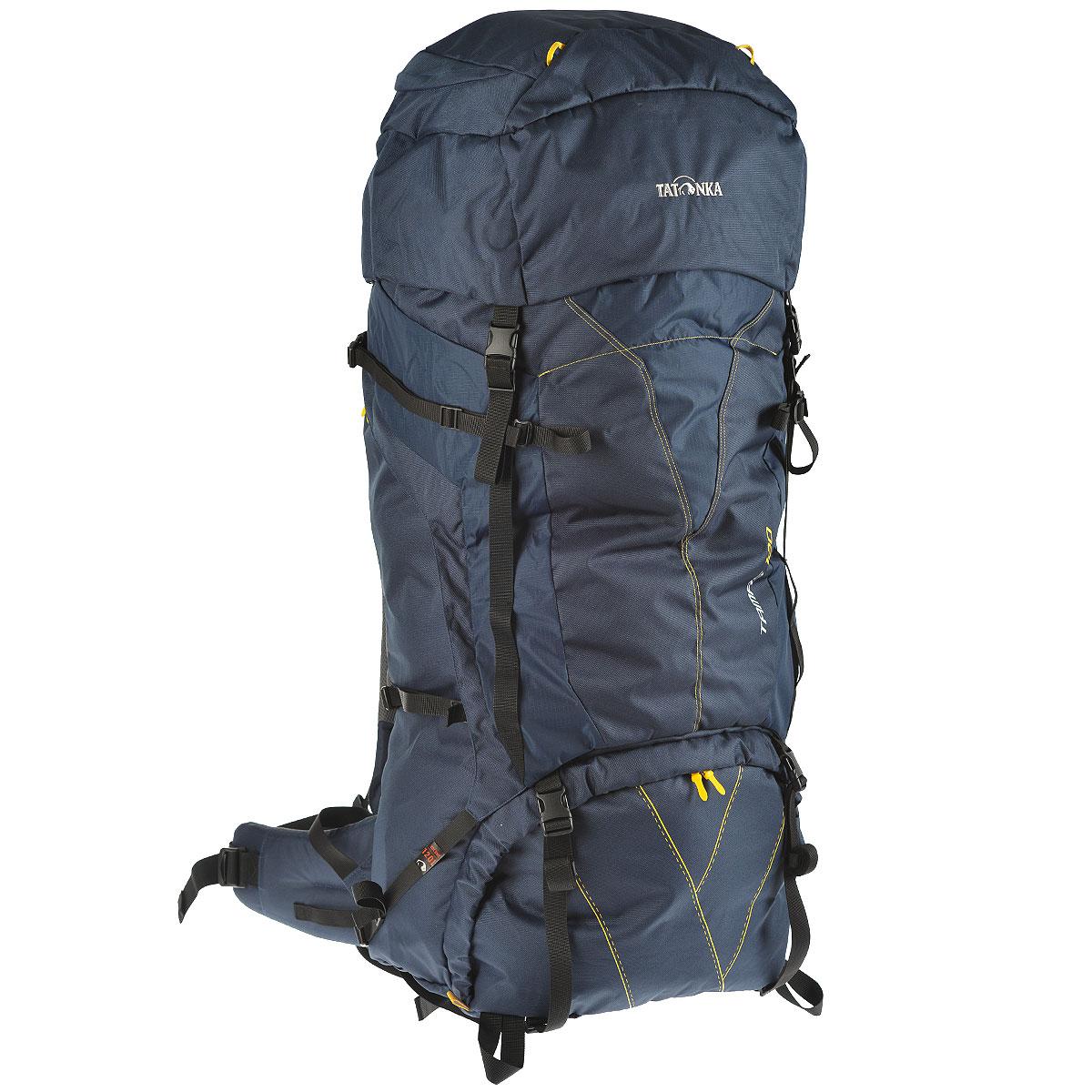 Рюкзак туристический Tatonka Tamas 120, цвет: темно-синий, 120 л6028.004Вместительный рюкзак Tatonka Tamas 120 - это отличный выбор для походов на байдарках - алюминиевые шины легко вытаскиваются из спины рюкзака и рюкзак можно компактно сложить и убрать в лодку. Преимущества и особенности Система переноски: Y1 Широкий поясной ремень Лямки регулируются по высоте, длине и плотности прилегания к рюкзаку Крышка рюкзака регулируется по высоте.