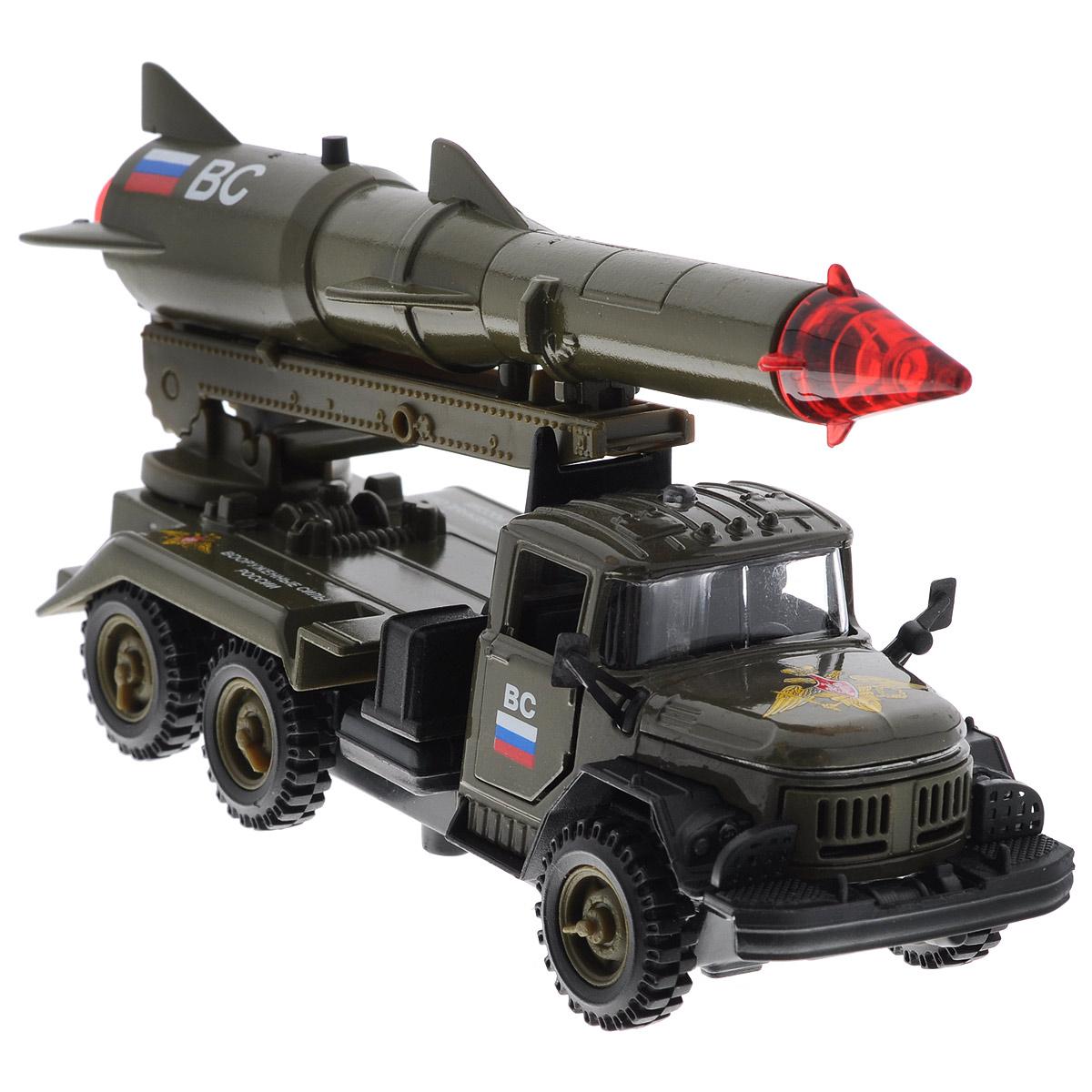 ТехноПарк Машинка инерционная ЗИЛ 131 с ракетой цвет темно-зеленыйCT10-001-R-2Инерционная машинка ТехноПарк ЗИЛ 131 с ракетой, выполненная из пластика и металла, станет любимой игрушкой вашего малыша. Игрушка представляет собой модель военного автомобиля ЗИЛ 131, оснащенную подвижной пусковой установкой с ракетой. Дверцы кабины и капот открываются. При нажатии кнопки на ракете боеголовка начинает мигать, при этом слышны звуки стрельбы и команды военных. Игрушка оснащена инерционным ходом. Машинку необходимо отвести назад, затем отпустить - и она быстро поедет вперед. Прорезиненные колеса обеспечивают надежное сцепление с любой гладкой поверхностью. Ваш ребенок будет часами играть с этой машинкой, придумывая различные истории. Порадуйте его таким замечательным подарком! Машинка работает от батареек (товар комплектуется демонстрационными).