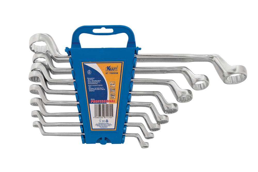 Набор накидных гаечных ключей Kraft Professional, 6 мм - 27 мм, 8 штКТ700556Набор накидных гаечных ключей Kraft Professional предназначен для профессионального применения в решении сантехнических, строительных и авторемонтных задач, а также для бытового использования. Все инструменты выполнены из высококачественной хромованадиевой стали, холодный штамп. Размеры ключей: 6 мм х 7 мм, 8 мм х 9 мм, 10 мм х 11 мм, 12 мм х 13 мм, 14 мм х 15 мм, 16 мм х 17 мм, 18 мм х 19 мм, 24 мм х 27 мм.
