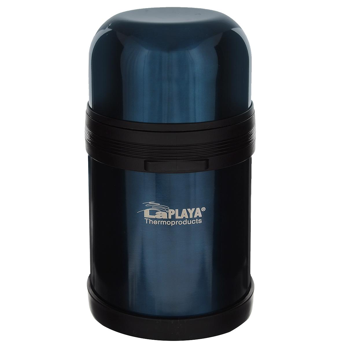 Термос LaPlaya Traditional, цвет: синий, 800 мл560042Термос LaPlaya Traditional оснащен двойными стенками с вакуумной изоляцией, которая позволяет сохранять напитки горячими и холодными длительное время. Легкий небьющийся корпус изготовлен из высококачественной нержавеющей стали. Широкая герметичная комбинированная пробка позволяет использовать термос для первых и вторых блюд при полном открывании и для напитков - при вывинчивании внутренней части. Изделие оснащено дополнительной пластиковой чашкой. Откидная ручка и съемный ремень позволяют удобно переносить термос. Термос LaPlaya Traditional идеален для вторых блюд, супов и напитков. Диаметр горлышка: 7,5 см. Высота термоса: 20 см.