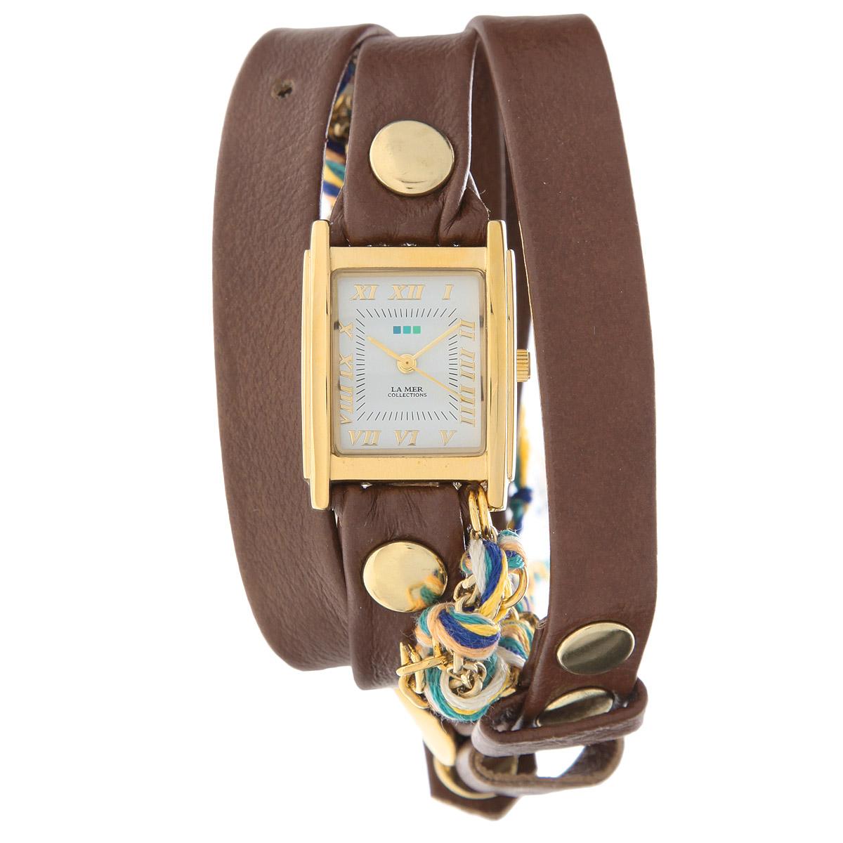 Часы наручные женские La Mer Collections Chain Primary Friendship. LMCW9001LMCW9001Женские наручные часы La Mer Collections позволят вам выделиться из толпы и подчеркнуть свою индивидуальность. Часы оснащены японским кварцевым механизмом Seiko. Ремешок выполнен из натуральной итальянской кожи, декорирован металлическими заклепками. Корпус часов изготовлен из сплава металлов, золотистого цвета. Циферблат оснащен часовой, минутной и секундной стрелками и защищен минеральным стеклом. Часы дополнительно украшены цепочкой из металлического сплава и цветных нитей. Часы застегиваются на классическую застежку. Часы хранятся на специальной подушечке в футляре из искусственной замши, крышка которого оформлена логотипом компании La Mer Collection. Характеристики: Размер циферблата: 25 х 22 х 7 мм. Размер ремешка: 550 х 8 мм. Не содержат никель. Не водостойкие. Собираются вручную в США.