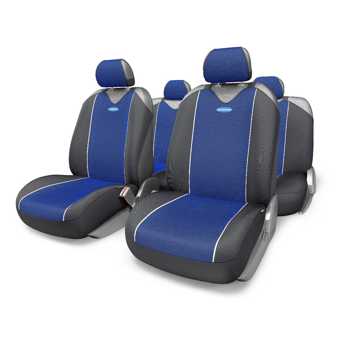 Чехлы-майки Autoprofi Carbon Plus Zippers, цвет: черный, синий, 9 предметовCRB-902PZ BK/BLМодель авточехлов-маек Autoprofi Carbon Plus Zippers, выполненных из полиэстера, отличается полностью закрытой нижней частью сидений, которая добавляет им практичности и износостойкости. При этом чехлы быстро и без усилий надеваются на кресла, не требуя демонтажа подголовников или подлокотников. В креслах заднего ряда 6 молний. Эластичный материал позволяет использовать чехлы на сиденьях любого типа. Визуально полиэстер изделий в точности повторяет переливающийся рисунок настоящего карбона и придает чехлам респектабельный вид. Для автомобиля, чей экстерьер или салон оснащены карбоновыми деталями, чехлы Autoprofi Carbon Plus являются наиболее гармоничным дополнением. Комплектация: 2 чехла кресел переднего ряда, 1 спинка заднего ряда, 1 сиденье заднего ряда, 5 подголовников. Толщина поролона: 2 мм.