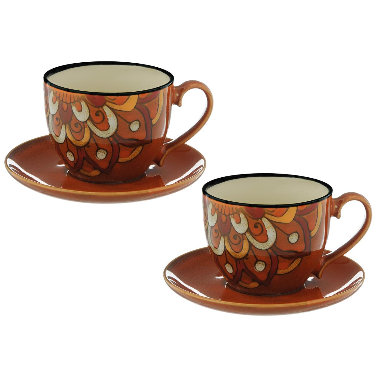 Набор чайный Korall Павлиний хвост, цвет: красный, 4 предмета719348Чайный набор Korall Павлиний хвост состоит из 2 чашек и 2 блюдец, изготовленных из высококачественной керамики. Предметы набора декорированы изображением павлиньего хвоста. Чайный набор яркого и в тоже время простого дизайна сделает ежедневное чаепитие настоящим праздником. Объем чашки: 300 мл. Диаметр чашки (по верхнему краю): 9,3 см. Высота чашки: 7,3 см. Диаметр блюдца: 14,5 см.