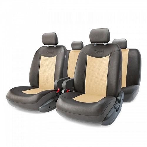 Авточехлы Autoprofi Grand Full, цвет: черный, бежевый, 13 предметов. Размер MGND-1305GF BK/L.BEАвтомобильные чехлы Autoprofi Grand Full изготавливаются из высококачественной экокожи с перфорированными цветными вставками. Мягкие и дышащие, чехлы являются отличным дополнением салона любого автомобиля. Изделия выполнены в классическом дизайне и придают автомобильному интерьеру современные и солидные черты. Полиуретановое покрытие искусственной кожи чехлов устойчиво к солнечным лучам, механическому воздействию и растяжению, благодаря чему чехлы отличаются продолжительным сроком эксплуатации. Чехлы из экокожи выглядят стильно в салоне любого автомобиля. На вид чехлы неотличимы от кожаных. Они хорошо скрывают уже имеющиеся дефекты кресла. Универсальная конструкция подходит для большинства автомобильных сидений. Подходят для автомобилей с боковыми подушками безопасности (распускаемый шов). Комплектация: 5 подголовников, 2 подлокотника, 2 спинки переднего ряда, 2 сиденья переднего ряда, 1 спинка заднего ряда, 1 сиденье заднего ряда. ...