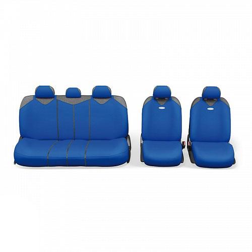 Чехлы-майки Autoprofi R1 - Sport Plus Zippers, цвет: синий, 9 предметовR-902PZ BLЧехлы-майки Autoprofi R1 - Sport Plus Zippers выполнены в спортивном стиле, который придает салону яркие и динамичные черты. Широкая гамма расцветок чехлов позволяет подобрать их к любому автомобильному интерьеру. Эластичный полиэстер изделий плотно облегает поверхность кресел, не выцветает на солнце и не электризуется. В креслах заднего ряда расположено 6 молний. Модель авточехлов-маек оснащена полностью закрытой нижней частью сидений, которая делает чехлы более практичными и износостойкими. Форма чехлов в виде маек позволяет легко и быстро надевать их на кресла любого типа, не прибегая к демонтажу подголовников и подлокотников. Комплектация: 2 чехла кресел переднего ряда, 1 спинка заднего ряда, 1 сиденье заднего ряда, 5 подголовников. Толщина поролона: 2 мм.