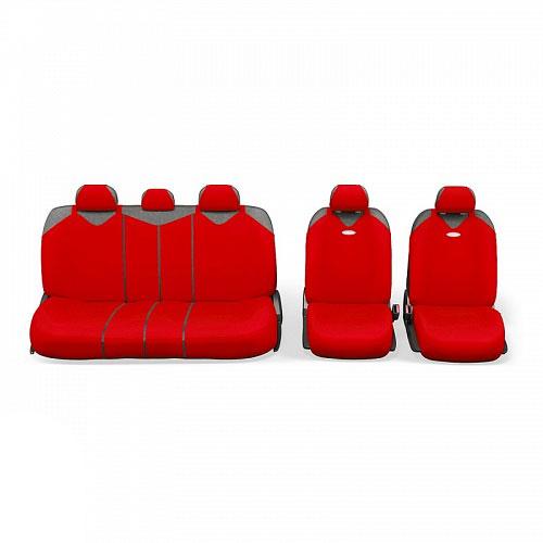 Чехлы-майки Autoprofi R1 - Sport Plus Zippers, цвет: красный, 9 предметовR-902PZ RDЧехлы-майки Autoprofi R1 - Sport Plus Zippers выполнены в спортивном стиле, который придает салону яркие и динамичные черты. Широкая гамма расцветок чехлов позволяет подобрать их к любому автомобильному интерьеру. Эластичный полиэстер изделий плотно облегает поверхность кресел, не выцветает на солнце и не электризуется. В креслах заднего ряда расположено 6 молний. Модель авточехлов-маек оснащена полностью закрытой нижней частью сидений, которая делает чехлы более практичными и износостойкими. Форма чехлов в виде маек позволяет легко и быстро надевать их на кресла любого типа, не прибегая к демонтажу подголовников и подлокотников. Комплектация: 2 чехла кресел переднего ряда, 1 спинка заднего ряда, 1 сиденье заднего ряда, 5 подголовников. Толщина поролона: 2 мм.