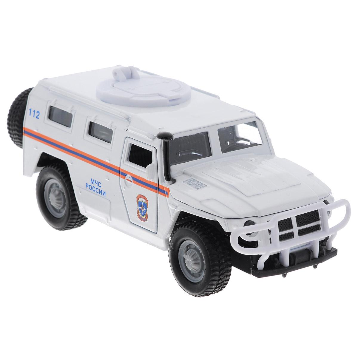ТехноПарк Машинка инерционная ГАЗ Тигр цвет белыйCT12-357-N2Машинка ТехноПарк ГАЗ Тигр, выполненная из металла и пластика, станет любимой игрушкой вашего малыша. Игрушка представляет собой военный внедорожник ГАЗ Тигр, оснащенный открывающимися дверьми и капотом. Люк на крыше и дверцы багажного отделения также открываются. При нажатии на капот раздаются звуки работающего двигателя. Игрушка оснащена инерционным ходом. Внедорожник необходимо отвести назад, слегка надавив на крышу, затем отпустить - и машинка быстро поедет вперед. Прорезиненные колеса обеспечивают надежное сцепление с любой гладкой поверхностью. Ваш ребенок будет часами играть с этой машинкой, придумывая различные истории. Порадуйте его таким замечательным подарком! Машинка работает от батареек (товар комплектуется демонстрационными).