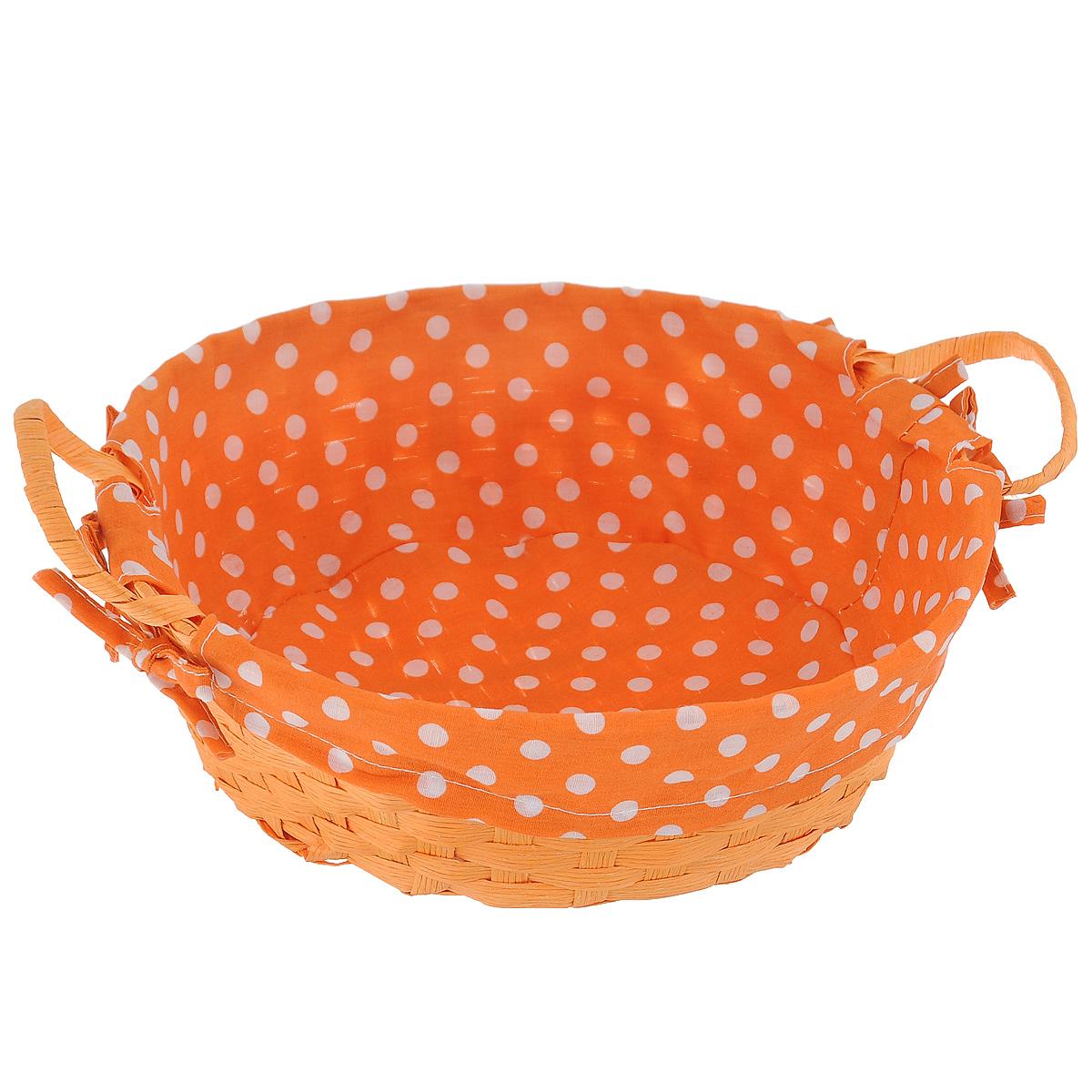 Лукошко декоративное Home Queen, цвет: оранжевый, диаметр 25 см57138_3Круглое декоративное лукошко Home Queen предназначено для хранения различных мелочей. Изделие изготовлено из окрашенной целлюлозы, а внутренняя поверхность обтянута подкладкой из хлопка. Лукошко оснащено двумя удобными плетеными ручками и декорировано четырьмя бантиками. Такое оригинальное лукошко станет ярким и необычным подарком или украшением интерьера. Высота лукошка: 8 см. Высота ручек: 5 см.