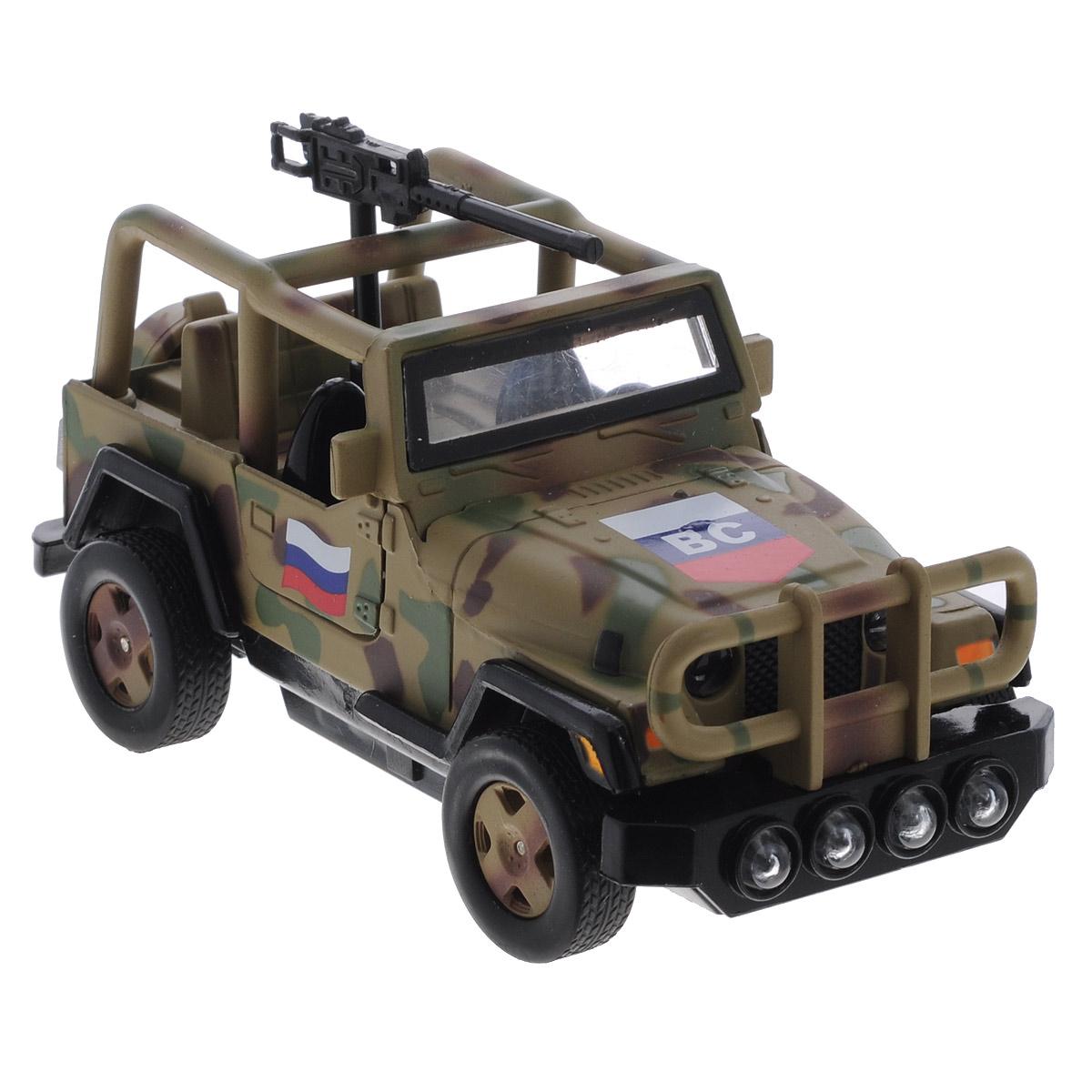 ТехноПарк Военный внедорожник инерционныйCT1061(SL598MWB)Машинка ТехноПарк Военный внедорожник , выполненная из металла и пластика, станет любимой игрушкой вашего малыша. Игрушка представляет собой военный внедорожник, оснащенный открывающимися дверьми и вращающимся пулеметом. При нажатии на руль раздаются звуки стрельбы и команды военных. Игрушка оснащена инерционным ходом. Машинку необходимо отвести назад, слегка надавив на крышу, затем отпустить - и она быстро поедет вперед. Прорезиненные колеса обеспечивают надежное сцепление с любой гладкой поверхностью. Ваш ребенок будет часами играть с этой машинкой, придумывая различные истории. Порадуйте его таким замечательным подарком! Машинка работает от батареек (товар комплектуется демонстрационными).