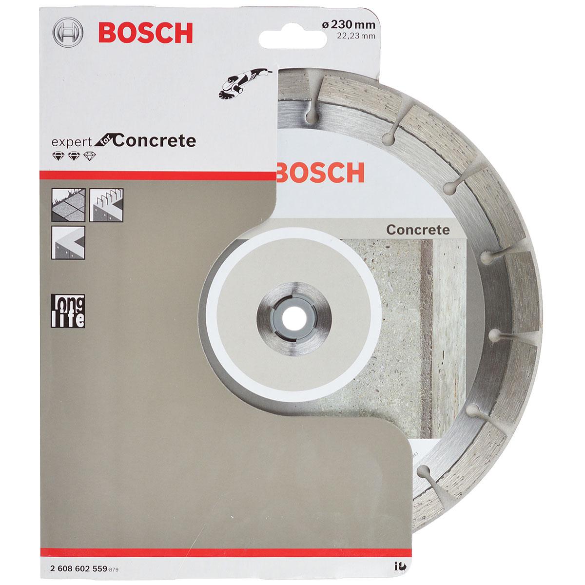 Диск алмазный Bosch Expert for Concrete, 23 см2608602559Алмазный отрезной диск Bosch Expert for Concrete используется для работ по армированному бетону, садовой плитке и бетонным блокам с декоративным покрытием. Выполнен из высококачественной стали.