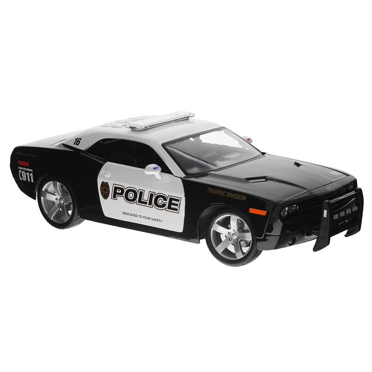 Maisto Модель автомобиля Dodge Challenger Concept31365Коллекционная модель Maisto Dodge Challenger Concept - миниатюрная копия настоящего полицейского автомобиля. Стильная модель автомобиля привлечет к себе внимание не только детей, но и взрослых. Модель имеет литой металлический корпус с высокой детализацией двигателя, интерьера салона, дисков, протекторов, выхлопной системы, оснащена колесами из мягкой резины. У машинки открываются дверцы, капот и багажник. Модель располагается на пластиковой подставке. Игрушка в точности повторяет модель оригинальной техники, подробная детализация в полной мере позволит вам оценить высокую точность копии этой машины! Такая модель станет отличным подарком не только любителю автомобилей, но и человеку, ценящему оригинальность и изысканность, а качество исполнения представит такой подарок в самом лучшем свете.