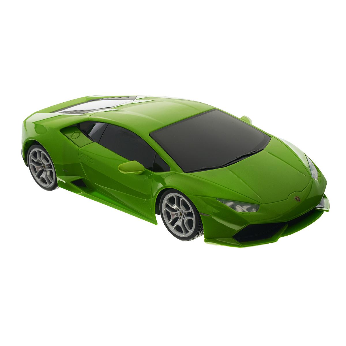 Maisto Радиоуправляемая модель Lamborghini Huracan LP 610-4 цвет салатовый81246Радиоуправляемая модель Maisto Lamborghini Huracan LP 610-4 обязательно привлечет внимание взрослого и ребенка, и несомненно понравится любому, кто увлекается автомобилями. Эта машина - точная копия автомобиля Lamborghini Huracan LP 610-4 в масштабе 1:14. Машинка изготовлена из высококачественного пластика, шины выполнены из мягкой резины. Машинка может перемещаться вперед, дает задний ход, поворачивает влево и вправо, останавливается. При движении у машинки загораются фары. Ваш ребенок часами будет играть с моделью, придумывая различные истории и устраивая соревнования. Порадуйте его таким замечательным подарком! Для работы машинки требуются 6 батарей типа АА напряжением 1,5V (батарейки входят в комплект). Для работы пульта управления требуются 2 батареи напряжением 1,5V типа ААА (батарейки входят в комплект). Радиус действия пульта - 10 м.