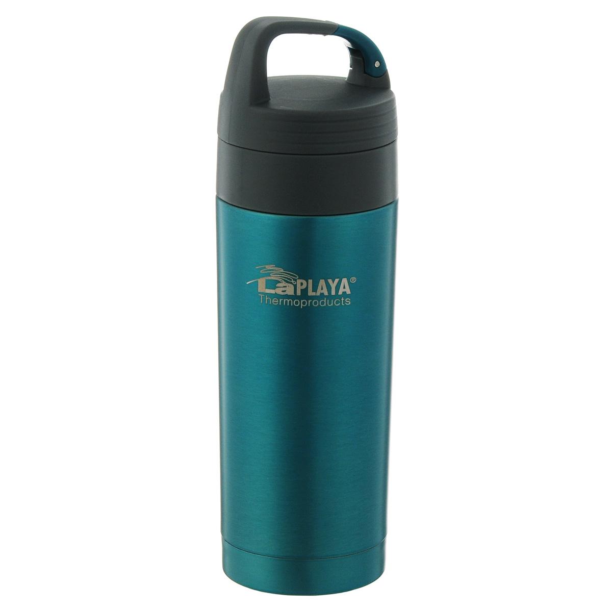 Кружка-термос LaPlaya Carabiner, цвет: голубой, 350 мл560086Кружка-термос LaPlaya Carabiner, изготовленная из высококачественной нержавеющей стали серии Carabiner, очень проста и удобна в использовании. Кружка-термос с двух стеночной вакуумной изоляцией, предназначена для хранения горячих и холодных напитков (чая, кофе), сохраняет их температуру до 6 часов горячими и до 12 часов холодными. Идеально подойдет для прохладительных напитков. Изделие оснащено герметичной и гигиеничной вакуумной крышкой с карабином. Термокружку удобно размещать в большинстве автомобильных держателей для стаканов. При открывании стопор предотвращает расплескивание напитков. Высота (с учетом крышки): 22 см. Диаметр горлышка: 5,5 см.