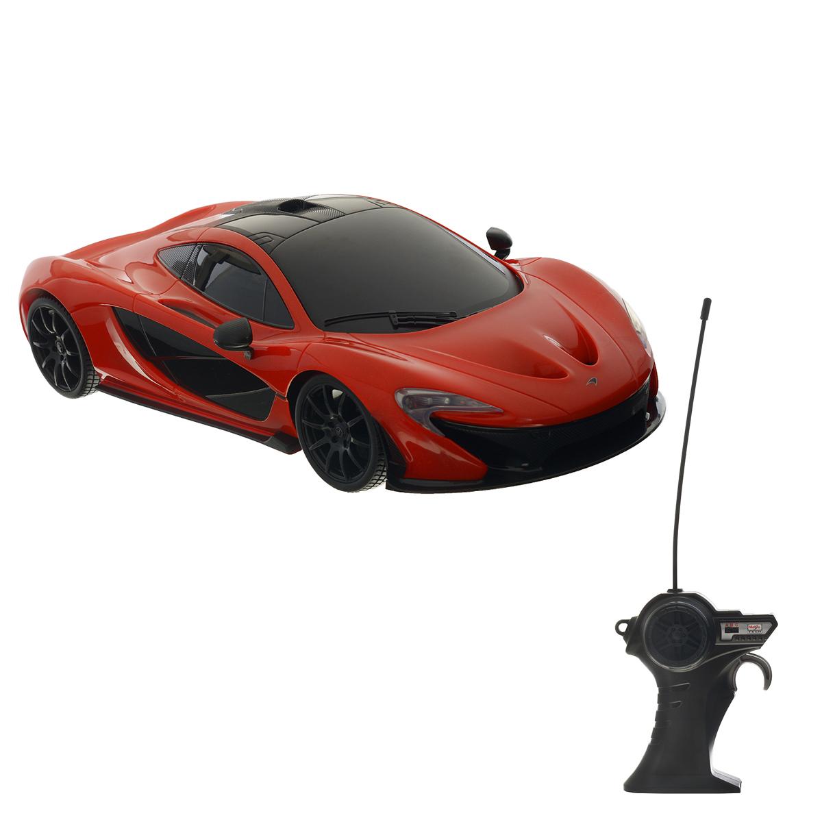 Maisto Радиоуправляемая модель McLaren P181243Радиоуправляемая модель Maisto McLaren P1 обязательно привлечет внимание взрослого и ребенка, и несомненно понравится любому, кто увлекается автомобилям. Эта машина - точная копия автомобиля McLaren P1 в масштабе 1:14. Машинка изготовлена из высококачественного пластика, шины выполнены из мягкой резины. Машинка может перемещаться вперед, дает задний ход, поворачивает влево и вправо, останавливается. При движении у машинки загораются фары. Ваш ребенок часами будет играть с моделью, придумывая различные истории и устраивая соревнования. Порадуйте его таким замечательным подарком! Для работы машинки требуются 6 батарей типа АА напряжением 1,5V (батарейки входят в комплект). Для работы пульта управления требуются 2 батареи напряжением 1,5V типа ААА (батарейки входят в комплект). Радиус действия пульта - 10 м. Частота: 27 МГц.