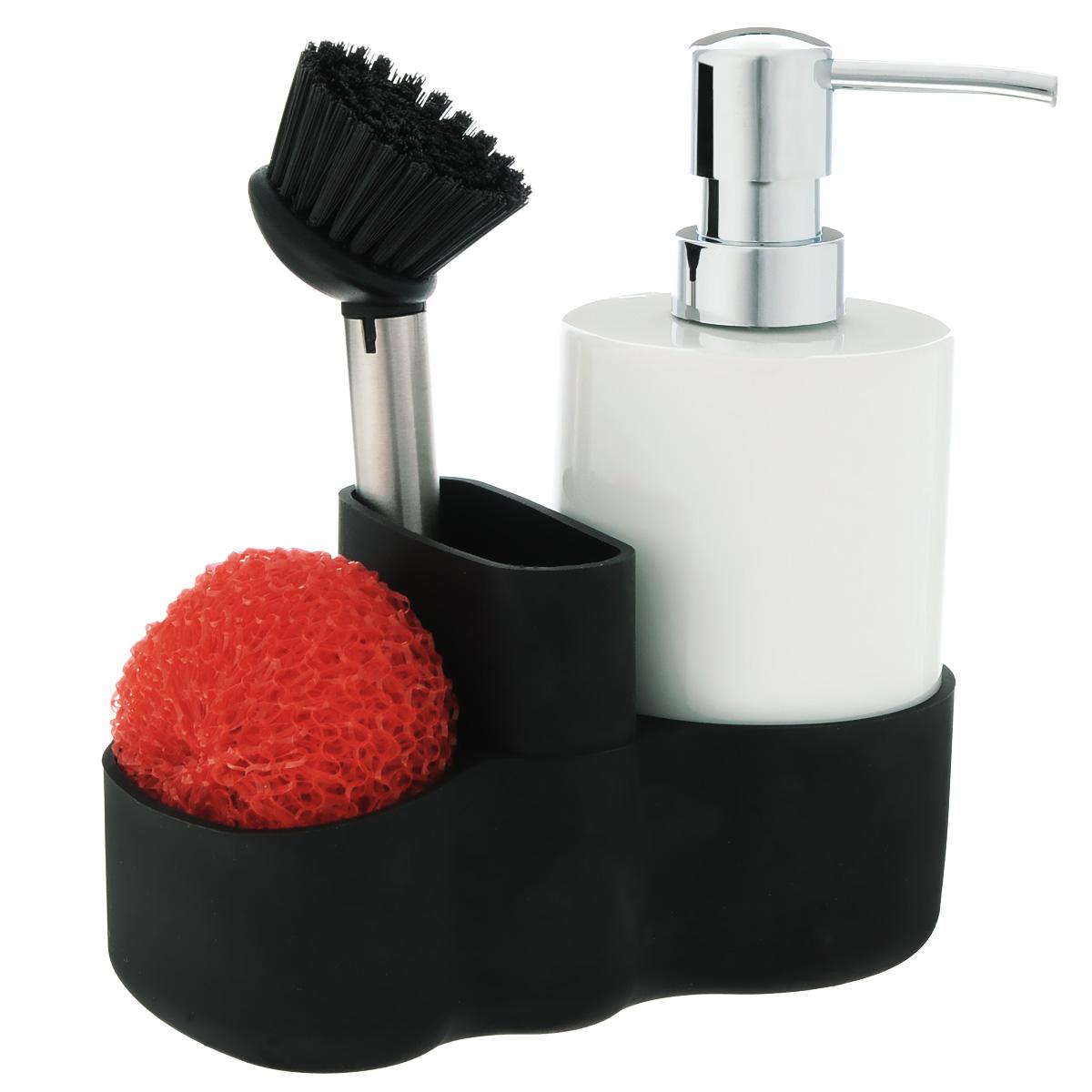 Набор для мытья посуды Iris Barcelona, 4 предмета3056-PНабор для мытья посуды Iris Barcelona состоит из диспенсера для жидкости для мытья посуды, щетки, губки и силиконовой подставки. Диспенсер выполнен из фарфора белого цвета и оснащен пластиковым носиком с покрытием под хром. Предназначен для жидкого мыла или жидкости для мытья посуды. Просто нажмите на носик, и из него выльется дозированное количество жидкости. Красная круглая губка поможет очистить застарелые засохшие загрязнения. Ручная щетка оснащена жестким нейлоновым ворсом, который поможет легко очистить загрязнения с любых видов посуды. Для предметов в наборе предусмотрена удобная силиконовая подставка. Такой набор не только послужит вам функционально, но и стильно дополнит интерьер кухни. Высота диспенсера: 18 см. Диаметр диспенсера: 7 см. Диаметр губки: 8 см. Длина щетки: 18 см. Диаметр рабочей поверхности щетки: 5 см. Размер подставки: 16 см х 8 см х 9 см.