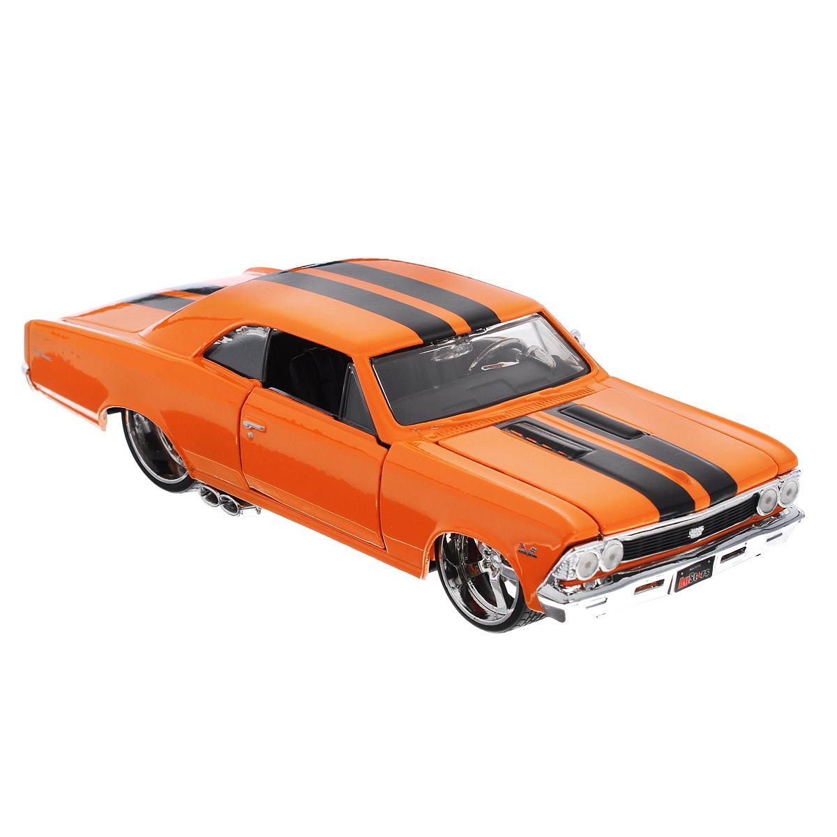 Maisto Модель автомобиля Chevrolet Chevelle SS 396 196631333Коллекционная модель Maisto 1966 Chevrolet Chevelle SS 396 - миниатюрная копия настоящего автомобиля. Стильная модель автомобиля привлечет к себе внимание не только детей, но и взрослых. Модель имеет литой металлический корпус с высокой детализацией двигателя, интерьера салона, дисков, протекторов, выхлопной системы, оснащена колесами из мягкой резины. У машинки открываются дверцы кабины и капот. Игрушка в точности повторяет модель оригинальной техники, подробная детализация в полной мере позволит вам оценить высокую точность копии этой машины! Такая модель станет отличным подарком не только любителю автомобилей, но и человеку, ценящему оригинальность и изысканность, а качество исполнения представит такой подарок в самом лучшем свете.