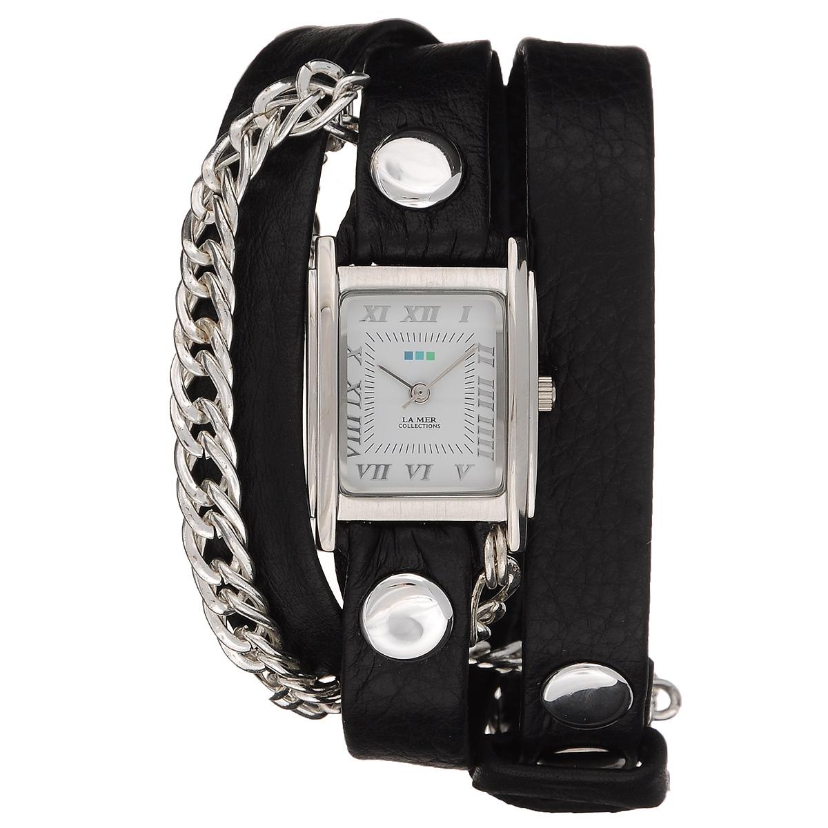 "Часы наручные женские La Mer Collections ""Chain Glam Silver Black"". LMSCW1003x ( LMSCW1003x )"