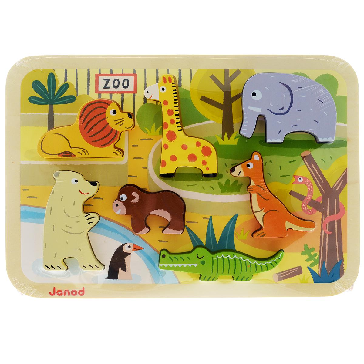 Пазл-вкладыш объемный Janod Зоопарк, 7 элементовJ07022Деревянный пазл-вкладыш Janod Зоопарк собирается на специальной деревянной основе с отверстиями, оформленной изображением фрагмента морского дна. Малыш должен расположить по своим местам объемные фигурки в виде льва, жирафа, медведя, обезьяны, кенгуру, слона и крокодила. Благодаря тому, что фигурки объемные, их можно ставить, а значит, использовать в других играх. Вы можете вместе с ребенком придумать занимательные истории с этими животными, а также использовать их в своих рисунках. Для этого приложите вкладыш к листу бумаги и обведите, а потом раскрасьте. Игрушка изготовлена из дерева, выкрашенного яркими красками на водной основе; все края закруглены. Деревянный пазл-вкладыш Janod Зоопарк способствует развитию цветовосприятия, мелкой моторики рук, логического мышления и знакомит малыша с окружающим миром.