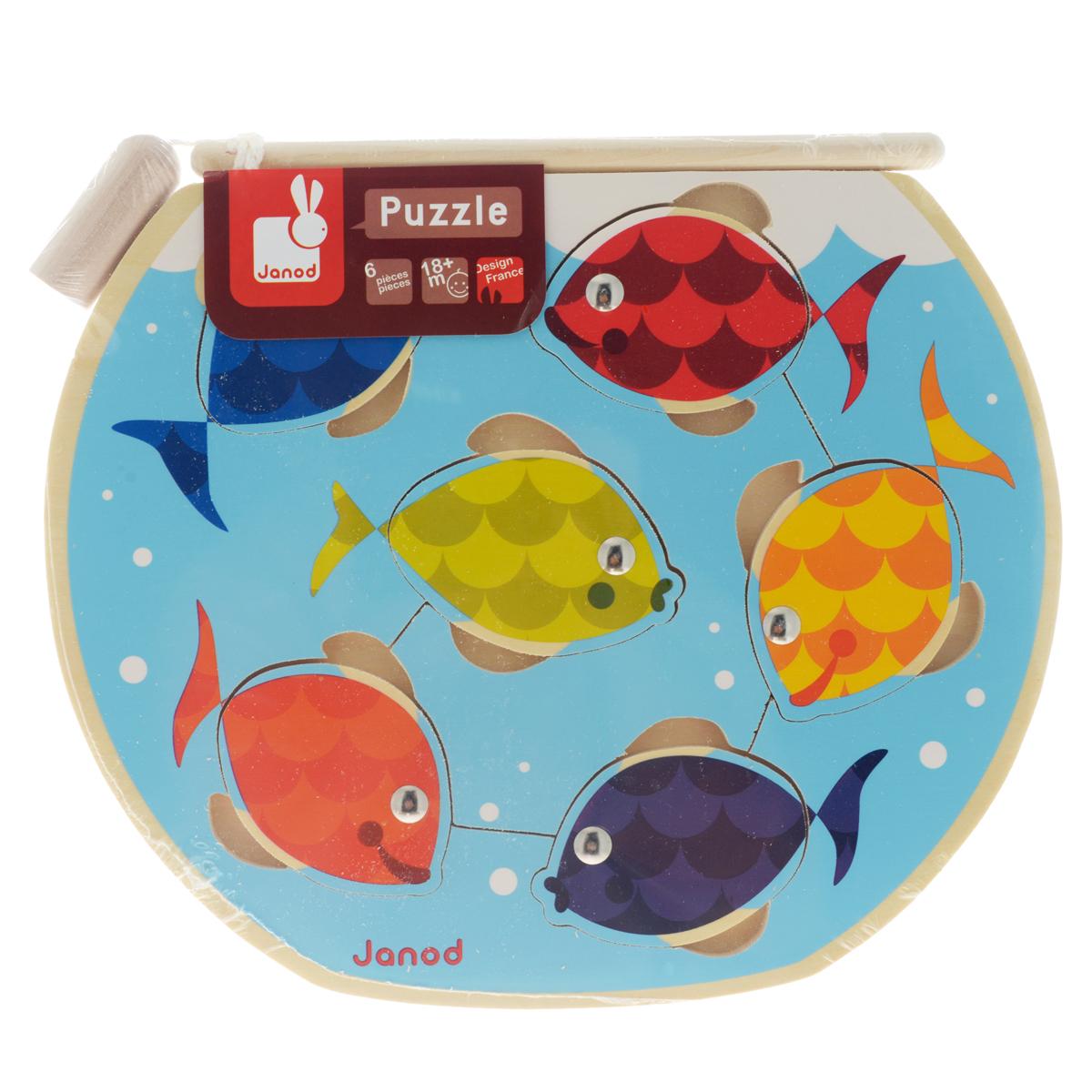 Магнитный пазл-вкладыш Janod Рыбалка, с удочкой, 6 элементовJ07008Магнитный пазл-вкладыш Janod Рыбалка включает 6 элементов в виде рыбок с металлическими глазками, рамку с отверстиями для рыбок и удочку с магнитиком на конце. Задача ребенка - поймать рыбку на удочку, примагнитив ее. Это отличная развлекательная игра! Игрушка изготовлена из дерева, выкрашенного яркими красками на водной основе; все края закруглены. Магнитный пазл-вкладыш Рыбалка способствует развитию цветовосприятия, мелкой моторики рук, логического мышления и знакомит малыша с окружающим миром.