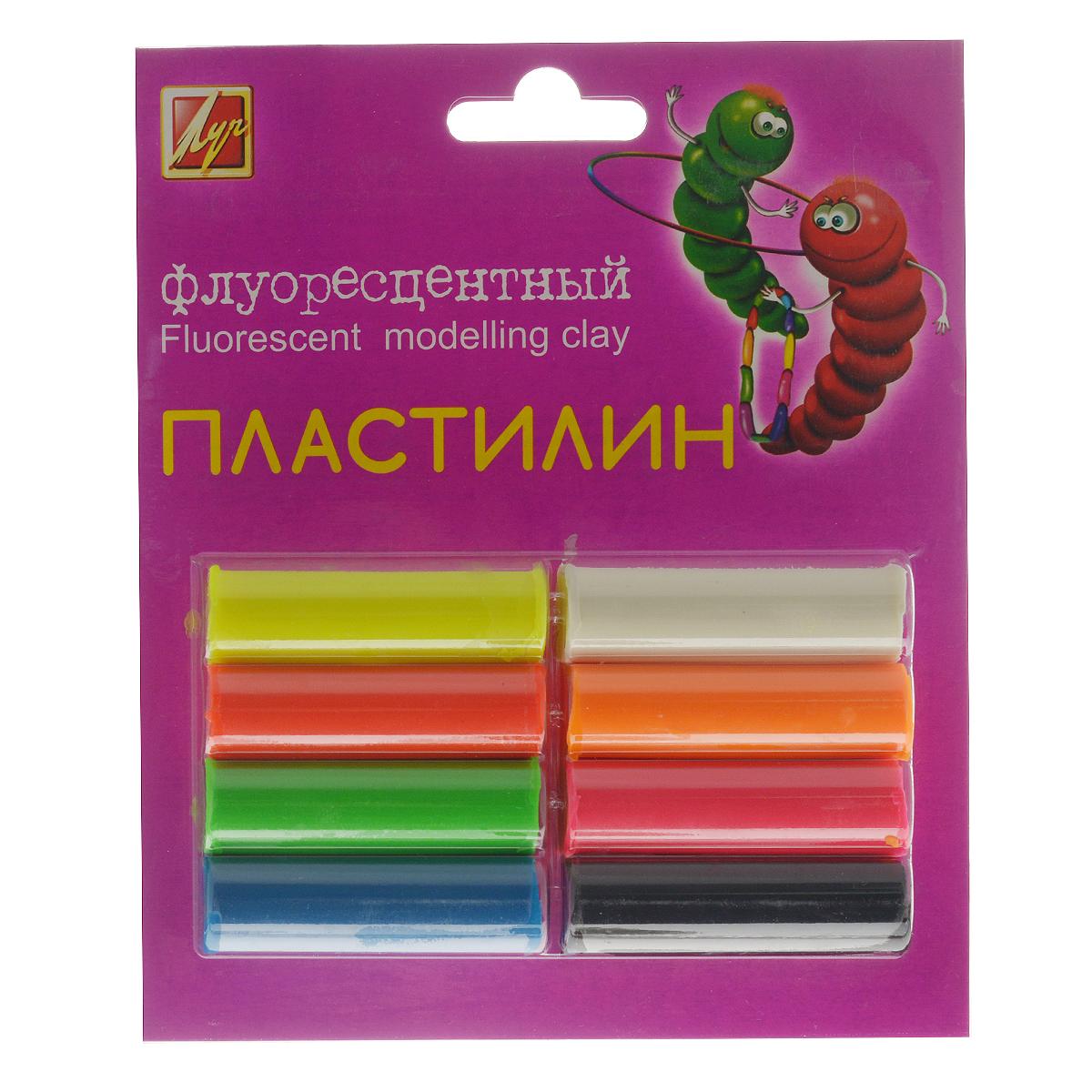 """Пластилин """"Луч"""", флуоресцентный, 8 цветов"""