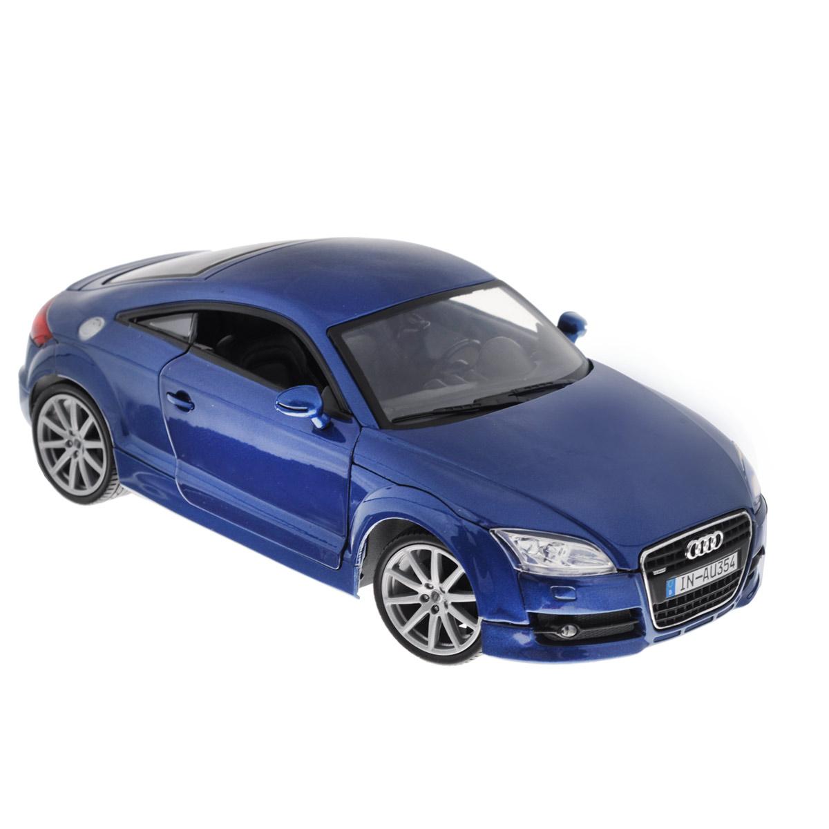 MotorMax Модель автомобиля Audi TT Coupe цвет синий73177Коллекционная модель MotorMax Audi TT Coupe - миниатюрная копия настоящего автомобиля. Стильная модель автомобиля привлечет к себе внимание не только детей, но и взрослых. Это немецкое купе, без сомнения, известно всем автолюбителям. Впервые Audi TT Coupe предстала перед широкой публикой в 1994 году на франкфуртском автосалоне в качестве концепта, а в 1998 году стартовал массовый выпуск авто. Эта Audi остается актуальной и по сей день. Масштабная модель от MotorMax в точности воспроизводит немецкое авто, включая мельчайшие детали интерьера и экстерьера. Вы можете рассмотреть все, включая двигатель в моторном отсеке и приборную панель автомобиля. У автомобиля открываются двери, багажник, капот, крутятся колеса. Повышенную прочность модели обеспечивает металлический корпус, выполненный по технологии die cast. Кроме того, в оформлении использованы пластиковые элементы, а колеса обуты в резиновые шины. Такая модель станет отличным подарком не только любителю...