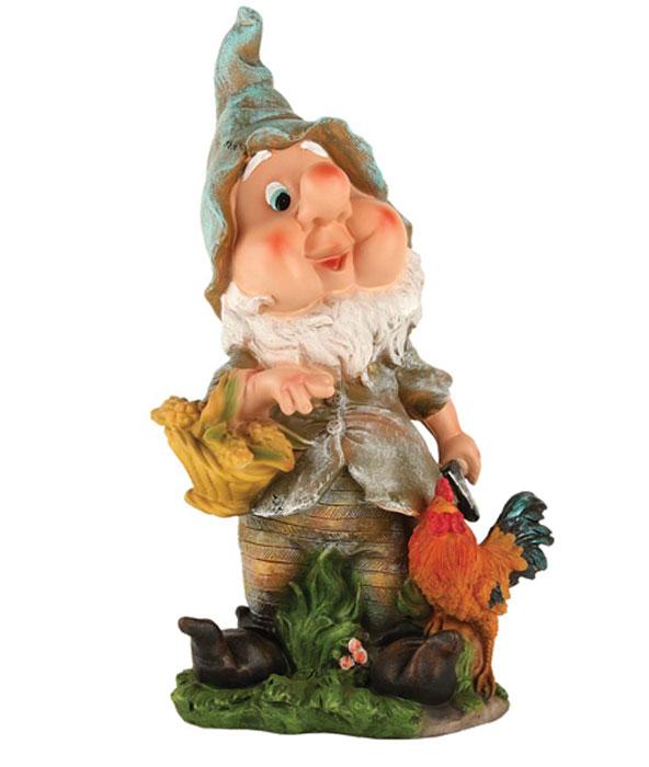 """Декоративная фигурка Korall """"Гном с петушком и корзиной"""", высота 41,5 см. NF201441-1 816444"""