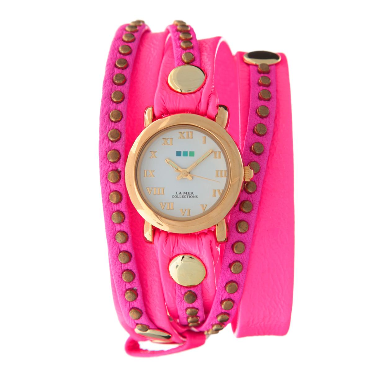 Часы наручные женские La Mer Collections Bali Neon Pink. LMSW4000LMSW4000Женские наручные часы  La Mer Collections позволят вам выделиться из толпы и подчеркнуть свою индивидуальность. Часы оснащены японским кварцевым механизмом Seiko. Ремешок двухслойный, выполнен из натуральной итальянской кожи и декорирован металлическими заклепками. Корпус часов изготовлен из сплава металлов, золотистого цвета. Циферблат оснащен часовой, минутной и секундной стрелками и защищен минеральным стеклом, оформлен римскими цифрами. Часы застегиваются на классическую застежку. Часы хранятся на специальной подушечке в футляре из искусственной кожи, крышка которого оформлена логотипом компании La Mer Collection. Характеристики: Размер циферблата: 22 х 22 х 8 мм. Размер ремешка: 550 х 13 мм. Ширина верхнего слоя ремешка: 6 мм. Не содержат никель. Не водостойкие. Собираются вручную в США.