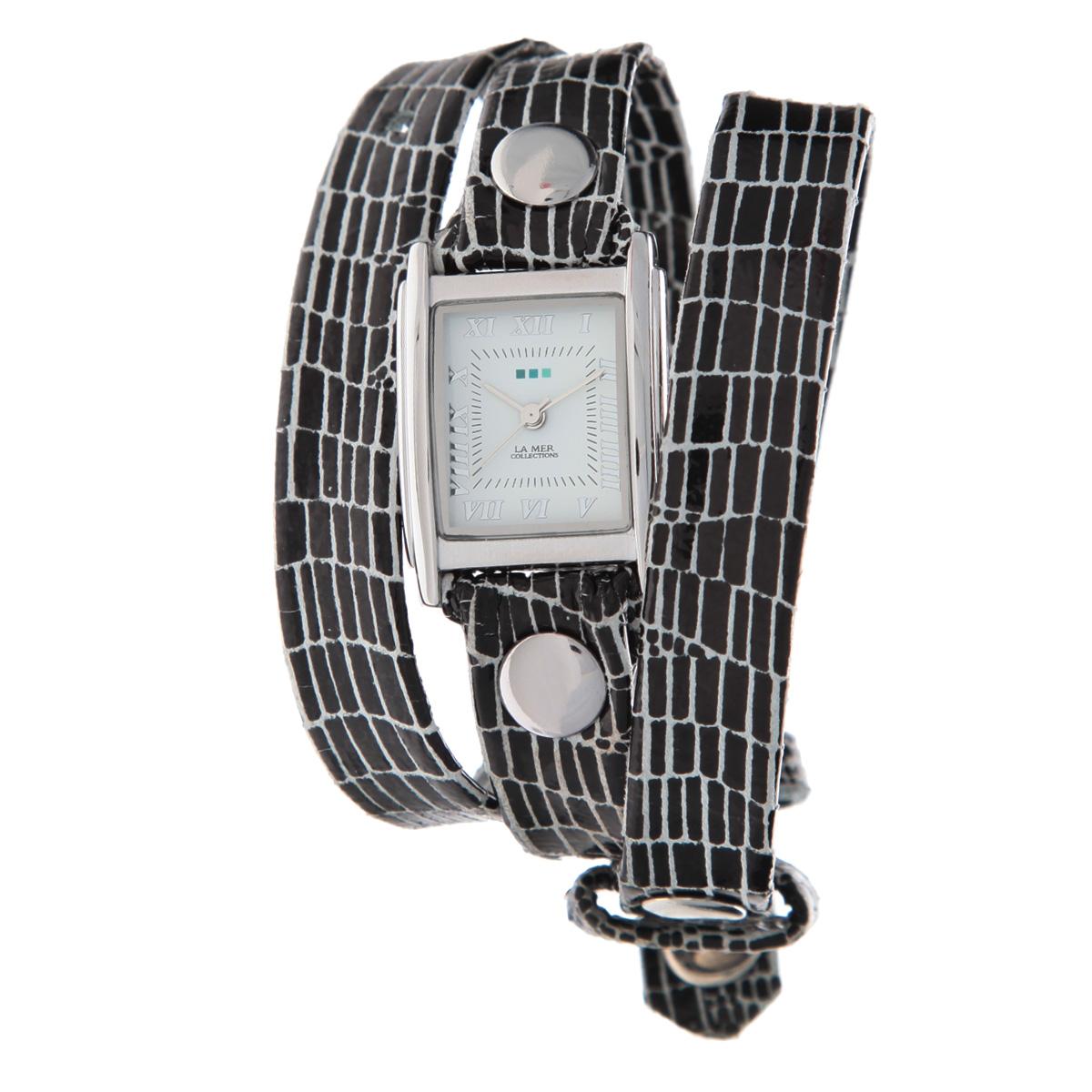 """Часы наручные женские La Mer Collections """"Simple Black/WHITE AFRICAN PRINT W/Silver"""". LMSTW5001x ( LMSTW5001x )"""