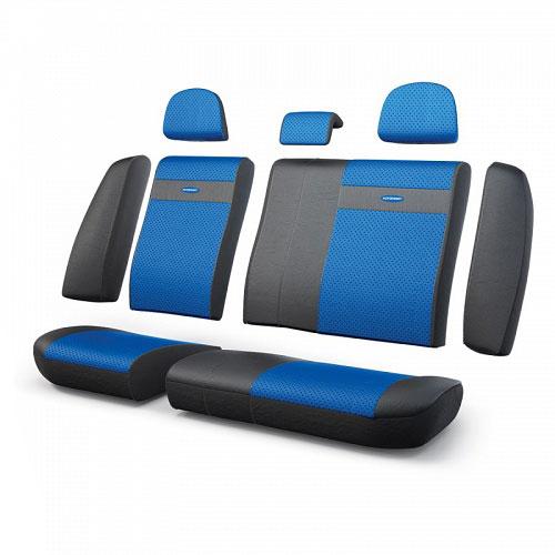 Авточехлы Autoprofi Трансформер, экокожа, цвет: черный, синий, 13 предметовTRS-002G BK/BLЧехлы Autoprofi Трансформер - новая модель автомобильных чехлов. Главной особенностью их стала модульная конструкция, благодаря которой можно укомплектовать 5-, 7- или 8-местный автомобиль. Запатентованная конструкция чехлов с молниями и торцевыми клапанами позволит их адаптировать в автомобилях с любым кузовом - седана, минивена, кроссовера, внедорожника или универсала. При этом специальные клапаны закрывают торцы спинок и подлокотников, позволяя их складывать и обеспечивая плотное прилегание даже на нестандартных креслах. Немаловажно, что данная серия чехлов на автомобильное сиденье оснащена распускаемым боковым швом, что позволяет их использовать в автомобилях с боковой подушкой безопасности. Выполнены из экокожи. Из прежних наработок, полюбившихся автомобилистам, в данных чехлах сохранилось крепление крючками и липучками, которые прочно фиксируют чехлы на сиденье. Чехлы для переднего ряда серии Трансформер сочетаются со всеми чехлами заднего ряда этой серии. ...