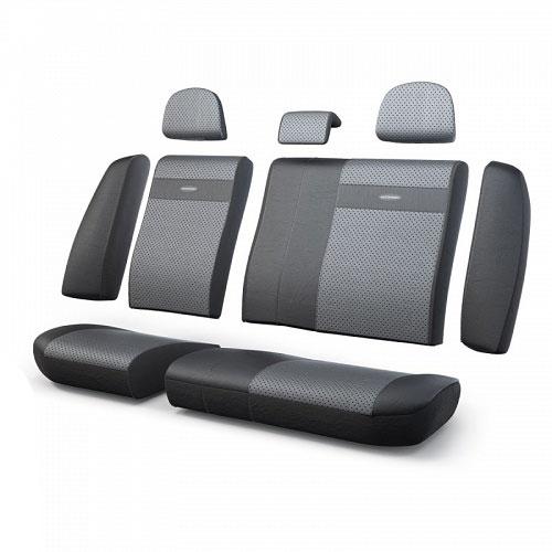 Авточехлы Autoprofi Трансформер, экокожа, цвет: черный, темно-серый, 13 предметов