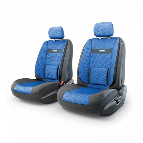 Авточехлы Autoprofi Трансформер Comfort, экокожа, цвет: черный, синий, 6 предметовTRS/COM-001G BK/BLЧехлы Autoprofi Трансформер Comfort - новая модель автомобильных чехлов. Главной особенностью их стала модульная конструкция, благодаря которой можно укомплектовать 5-, 7- или 8-местный автомобиль. Запатентованная конструкция чехлов с молниями и торцевыми клапанами позволит их адаптировать в автомобилях с любым кузовом - седана, минивена, кроссовера, внедорожника или универсала. При этом специальные клапаны закрывают торцы спинок и подлокотников, позволяя их складывать и обеспечивая плотное прилегание даже на нестандартных креслах. Немаловажно, что данная серия чехлов на автомобильное сиденье оснащена распускаемым боковым швом, что позволяет их использовать в автомобилях с боковой подушкой безопасности. Спинка и боковые части автомобильного чехла сделаны из экокожи. Из прежних наработок, полюбившихся автомобилистам, в данных чехлах сохранилось крепление крючками и липучками, которые прочно фиксируют чехлы на сиденье. Чехлы для переднего ряда серии Трансформер сочетаются со...
