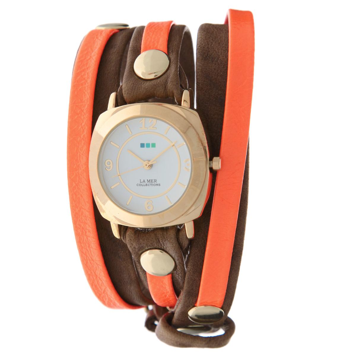Часы наручные женские La Mer Collections Layer Odyssey Mocha Neon Orange. LMODYLY1002xLMODYLY1002xЖенские наручные часы  La Mer Collections позволят вам выделиться из толпы и подчеркнуть свою индивидуальность. Часы оснащены японским кварцевым механизмом SEIKO. Ремешок двухслойный, выполнен из натуральной итальянской кожи и декорирован металлическими заклепками, верхний ремешок в ярком оранжевом цвете. Корпус часов изготовлен из сплава металлов, золотистого цвета. Циферблат оснащен часовой, минутной и секундной стрелками и защищен минеральным стеклом. Часы застегиваются на классическую застежку. Часы хранятся на специальной подушечке в футляре из искусственной кожи, крышка которого оформлена логотипом компании La Mer Collection. Характеристики: Размер циферблата: 29 х 29 х 8 мм. Размер ремешка: 550 х 13 мм. Не содержат никель. Не водостойкие. Собираются вручную в США. Ширина верхнего слоя ремешка: 6 мм.