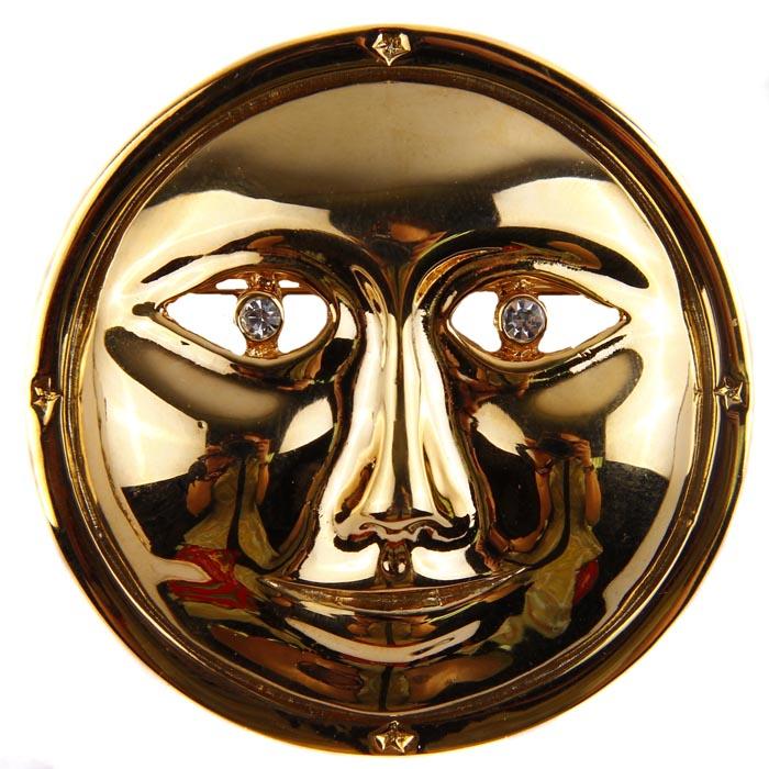 """Винтажная брошь """"Лик луны"""" от CAURA. Ювелирный сплав, кристаллы. Великобритания, CAURA, вторая половина ХХ века"""